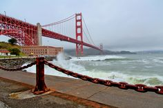 https://flic.kr/p/bHjFwF | Golden Gate Bridge - San Francisco | Visit my Website Like me on Facebook Golden Gate Bridge - San Francisco: This afternoon it was very cloudy, decided to head for Fort point. Waves were considerably high. Tried to capture as I saw it.  Tech Info: Canon 5D Mark III, Canon EF 24-105 L F/4 IS @ 24 mm, hand held, single shot, no filter. Processed in LR 4.1, CS5.