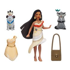 Pocahontas Figure Fashion Set ($13 at DisneyStore.com) - Made especially for Walt Disney World and Disneyland, this set includes Pocahontas, Meeko with Flit and Percy figures. Includes additional dress and bag. The figures up to 3.75'' high.