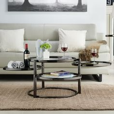 Furniture of America Cara Contemporary Round Motion Glass Metal Coffee Table | Overstock.com Shopping - The Best Deals on Coffee, Sofa & End Tables