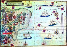 """""""Terra Brasilis"""", 1519, mapa por Lopo Homem e Pedro Reinel """"Atlas de Lopo Homem-Reinel """" ( ou Atlas de Miller - nome do proprietário do séc. XIX). Atualmente está na Biblioteca Nacional da França. Foi realizado por ordem do rei Dom Manuel I, de Portugal. Sua qualidade artística é superior a qualquer outra obra cartográfica portuguesa do séc. XVI."""