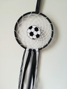 football, soccer, dreamcatcher, dream catcher wall hanging, soccer gift, dream catcher boys, kids room decor, black and white, birthday gift by ThinkSleepy on Etsy