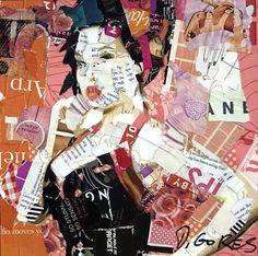 """Derek Gores, """"Signature Move"""", collage on panel, 8""""x 8"""""""
