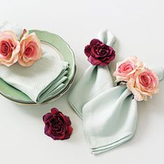 Ring Around the Roses- great idea!  Sew craft roses to hair elastics for a quick napkin ring!