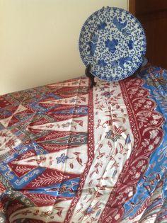 "Antique rifaiyah batik from Pekalongan, old red blue or ""bangbiron"" color."