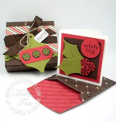 """bitty box holly card   Stamp Set: Pennant Parade (W122740, C122742); Paper: Old Olive (100702), Riding Hood Red (111348), Early Espresso (119686), Whisper White (100730); Ink: Early Espresso (119670); Cool Tools: Itty Bitty Shapes Punch Pack (118309), Stocking Accents Originals Die (Holiday Mini Catalog, 124099), 3/4"""" Circle Punch (119873), Paper Piercing Tool and mat; Envelope: Letters to Santa Designer Series Paper (122349), Bitty Box & Envelope Bigz XL Die (115967)"""