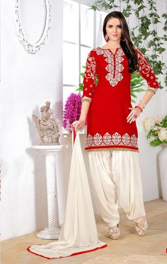 Red Cotton Punjabi Suit 66336