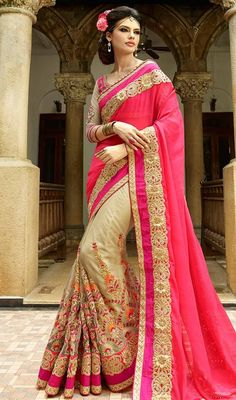 Spell bind your onlookers with your charming traditional looks draping this pink and beige color georgette net half n half sari. The attractive bead, lace, resham and stones work a substantial feature of this attire.  #halfnhalfsaree #pinkcolorhalfnhalfsari #netsareesonline
