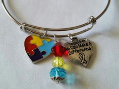 Autism, Autism Awareness . Together we can make a difference ~Expandable Wire Bracelet, Support, Awareness gift