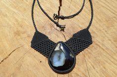 black onyx druzy necklace,macrame necklace,macrame jewelry,statement necklace,bib necklace,black color,stone necklace,black onyx jewelry, by ARTEAMANOetsy on Etsy