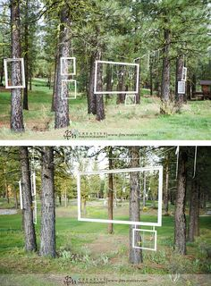 Hang frames for guests to take fun photos! What a fun idea for a wedding on a Christmas tree farm