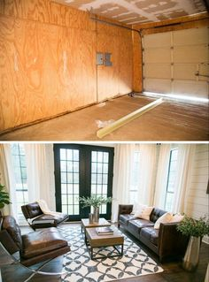 """Fixer Upper"" – The Bardominium (season 3 episode 6) sitting room before and after – Magnolia Market"