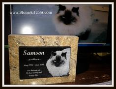 Samson looks great permanently laser etched into solid granite on this small garden marker ~ pet memorial.  R.I.P. buddy