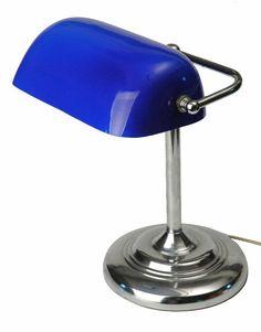 cobalt blue tiffany lamp | ... Deco Adjustable Banker / Clerk Lamp with Original Cobalt Blue Shade