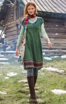 Love the dress and the scarf--NORWEGIAN WOODS SWEATER DRESS