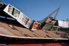 portion of outfield structure at Anaheim Stadium collapsed after a severe earthquake hit the Los Angeles area, on 1/17/94. (AP Photo/Ben Margot)