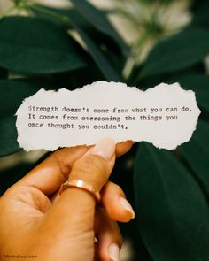 """""""Strength doesn't come from what you can do. It come from overcoming the things you once thought you couldn't."""" - Rikki RogersnnSharing is caring. If this message resonates with you, please share. Visit our page every day for more inspiration. Self Love Quotes, Work Quotes, Poetry Quotes, Great Quotes, Quotes To Live By, Me Quotes, Motivational Quotes, Inspirational Quotes, Note To Self"""
