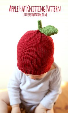Celebrate Fall with an adorable (and free!) Apple Hat Knitting Pattern from Little Red Window Design.