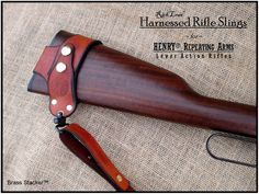 Brass Stacker Rick Lowe Harnessed Rifle Sling for Henry Repeating Arms Lever Action Rifles Leather Rifle Sling, Leather Holster, Leather Tooling, Gun Holster, Holsters, Henry Rifles, Leather Projects, Leather Crafts, Lever Action Rifles