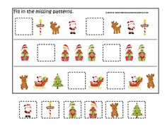Christmas themed Fill in the Missing Pattern preschool printable game.  Daycare curriculum activity. from teachatdaycare on TeachersNotebook.com -  (1 page)  - Christmas themed preschool printable game fill in the missing pattern.