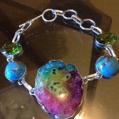 GEODE Bracelet. Agate Geode Slice in stamped 925 solid silver Bracelet Jewelry Bracelets