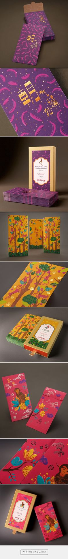 Monkey Series Angpao Packaging - Packaging of the World - Creative Package… Chinese Design, Japanese Graphic Design, Branding, New Year Illustration, Creative Cards, Creative Package, Red Packet, Cool Packaging, Eco Friendly Paper