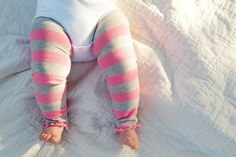 Pink and Gray Striped Ruffled Baby Leg Warmers by thelilredwagon, $5.95