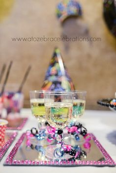 Drinks at a kid's New Year party!  See more party ideas at CatchMyParty.com!  #partyideas #newyears