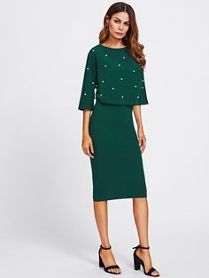 f22499dec632 Buy SHEIN Women Autumn Two Piece Outfits Burgundy Three Quarter Length  Sleeve Pearl Embellished Front Top and Pencil Skirt Set