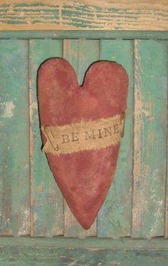 Primitive Heart Valentine Ornament Tuck handmade by PrairiePrimitives, $12.00