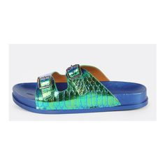 Mermaid Double Buckle Slides TEAL ($24) ❤ liked on Polyvore featuring shoes, sandals, turquoise, double buckle shoes, double buckle sandals, teal shoes, turquoise sandals and teal blue shoes
