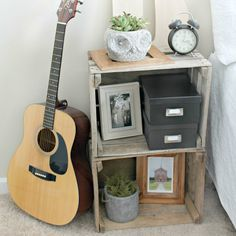 See how easy it is to make a crate nightstand, you can have one in no time!