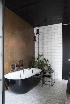 Black and white bathroom with copper wall. Green plants in the bathroom