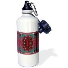 3dRose THE Gordic Knot mythology fractal FractalArt art grey pink symbolism , Sports Water Bottle, 21oz