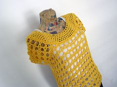 Yellow Crochet Top Mothers Day Beach Tee L Size   by LimenWear