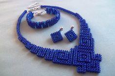 Geometric Beadwoven, Geometric necklace, Bead necklace, Dark blue jewelry, Set beaded jewelry, Beadwork, Handmade necklace, Gift by JewelryShopCamomile on Etsy