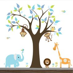 Modernwalls-Wall Decals Jungle Decal Wall Stickers-with Lion Elephant, via Etsy.