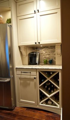 Lighter cabinets for a built-in #bar and #wine #rack