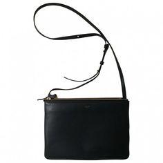 Trio leather handbag CÉLINE ❤ liked on Polyvore featuring bags, handbags, hand bags, genuine leather handbags, white purse, real leather handbags and white hand bags
