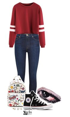 """""""Covered Sadness"""" by peperutka-eva ❤ liked on Polyvore featuring 7 For All Mankind, Anya Hindmarch and Converse"""