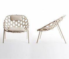 Woven and wrapped leather chair  H 380mm - W 980mm - D 980mm