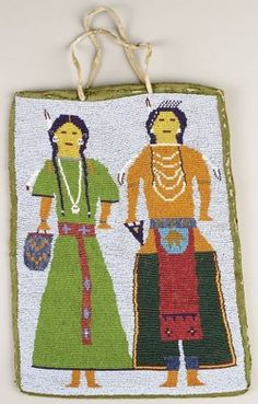 antiques price guide, antiques priceguide, native american, America, A Plateau beaded cloth flat bag, circa 1890, flat-stitched in numerous shades of opaque and translucent beads, decorated on the front with a Plateau couple dressed in native attire, hide handles.