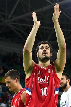 Serbia's forward Nikola Kalinic celebrates after winning a Men's quarter final…