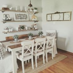 Farmhouse Dining Room Table & Decorating Ideas Bauernhaus Esstisch &am. Farmhouse Dining Room Table, Dining Room Table Decor, Dining Room Walls, Decoration Table, Dining Room Design, Rustic Table, Living Room, Shelves In Dining Room, Dining Wall Decor Ideas