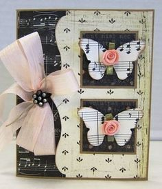 Lovely Black & White Card...love the music paper, the sweet butterflies with buttons and the pink bow.  Picture only for inspiration.