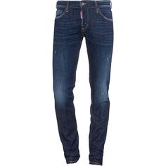 DSQUARED2 Slim Jean Short Crotch Slim Bottom // Destroyed slim fit... ($285) ❤ liked on Polyvore featuring men's fashion, men's clothing, men's jeans, bottoms, jeans, guy clothes, men's pants, mens dark blue jeans, mens torn jeans and mens destroyed jeans