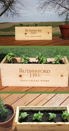 Repurposed wine crate herb planter - a perfect and useful souvenir from any winery you visit. First, drill holes about 1.5 inches apart all over the bottom of the wine crate to allow for drainage. Then put 2 to 3 coats of Thompson's water sealer (make sure you let the sealer dry about 24 hours before the next coat). Fill your wine crate with miracle grow potting soil and plant your herb of choice. Voila! You have a beautiful repurposed wine crate.