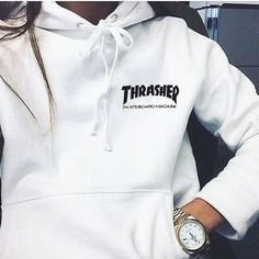 """""""Thrasher""""Quality hooded sweater flame slide hip sweater Letters on the side White Hoodies For Teens, Trendy Hoodies, Comfy Hoodies, Cute Comfy Outfits, Trendy Outfits, Fall Outfits, Look Fashion, Teen Fashion, Fashion Outfits"""