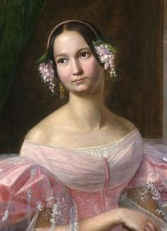 Floral wreaths were a favorite evening hair accessory. Compiled from contemporary early Victorian sources