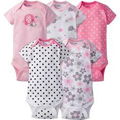 08372b4025 Gerber Girls  5 Pack Variety Bodysuits