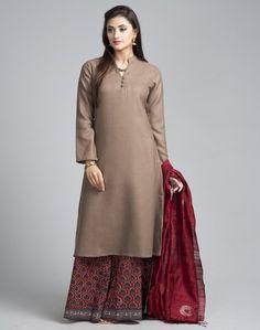 Wool Plain Full Sleeves Long Kurta
